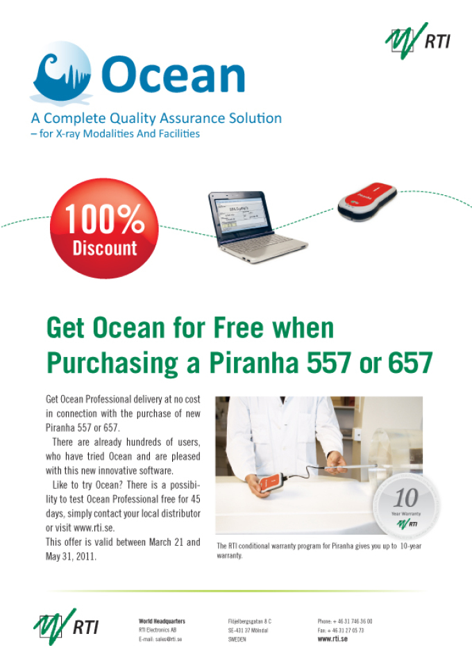 Receive Ocean software for FREE when purchasing the Piranha